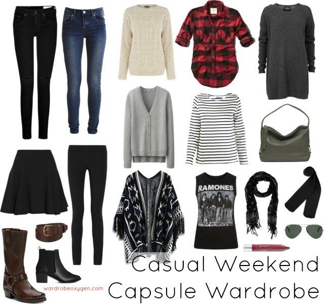 A casual capsule winter wardrobe for the weekend warrior or someone who desires a casual wardrobe.