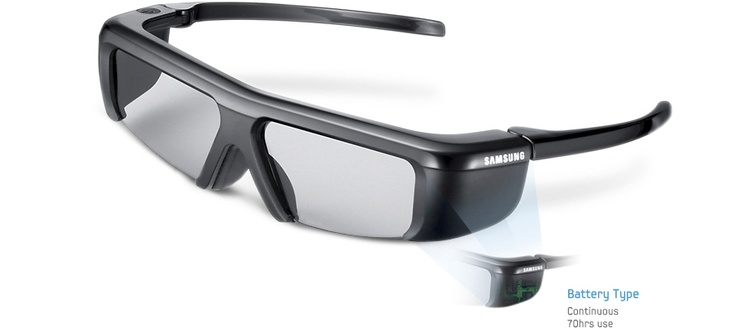 Watch your entertainment come alive with Samsung's 3D glasses. Featuring the fit-over design, which is perfect for users who already wear glasses, the 3D glasses will be noticeably more comfortable and will deliver an even better 3D experience. And with a battery type for extended viewing, which lasts up to 70 hours, you can now sit back in total comfort and enjoy as much 3D TV as you like. It's the 3D experience you've always wanted.