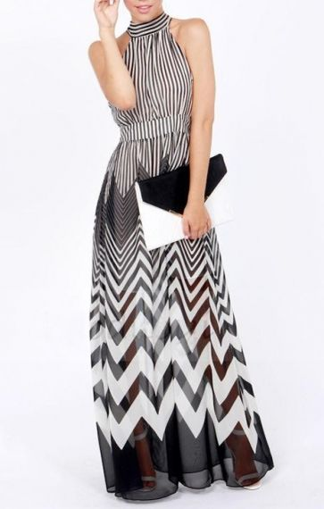 Wave Stripes Printing Halterneck Chiffon Maxi Party Dress