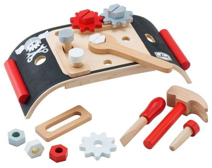Czerwono-czarny mini warsztat z narzędziami Sevi