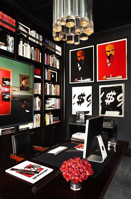 Dramatic working space home office area dark black walls Office decor,office decor ideas, home decor ideas, office inspirations, modern office luxury furniture, home furniture,high end furniture, desks, table desks For more inspirations: http://www.bocadolobo.com/en/inspiration-and-ideas/