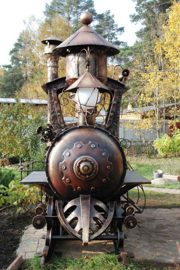 Steampunk Train Barbecue Grill