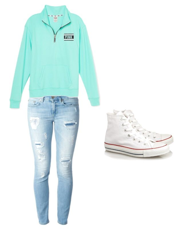 Cute and comfy outfit with white high top converse