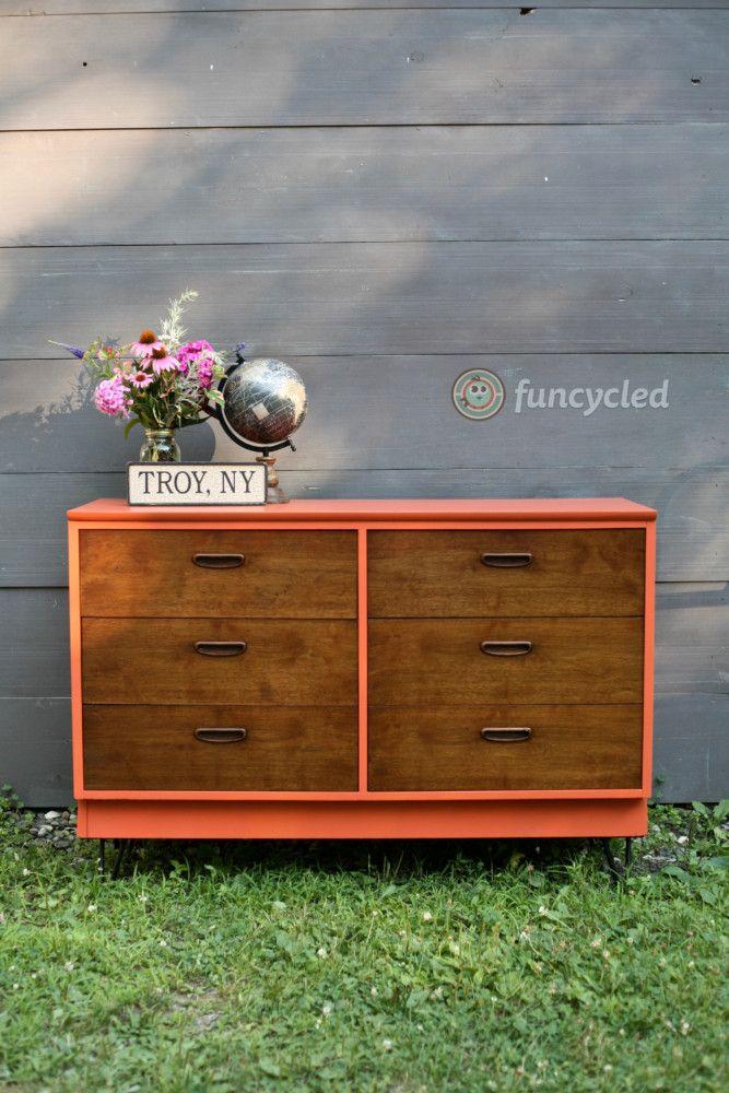 Burnt Orange Mid Century Dresser Funcycled Mid Century Dresser Orange Furniture Orange Dresser
