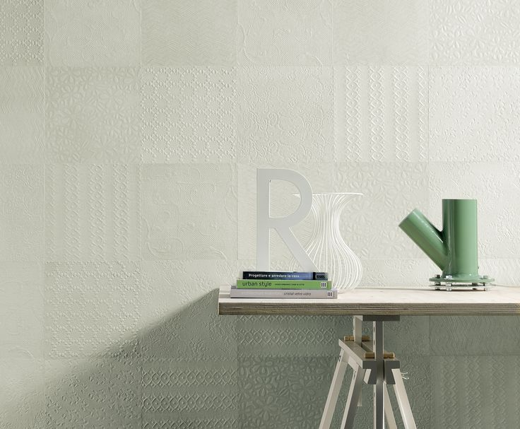 Subtle, yet full of details, @ceramica creativa tenerife creativa tenerife Fioranese 's Sweet Revolution collection in sea green mixes textures inspired by block print patterns used in mid-century wallpapers. #ceramic #tile #MadeInItaly #floral #monochrome