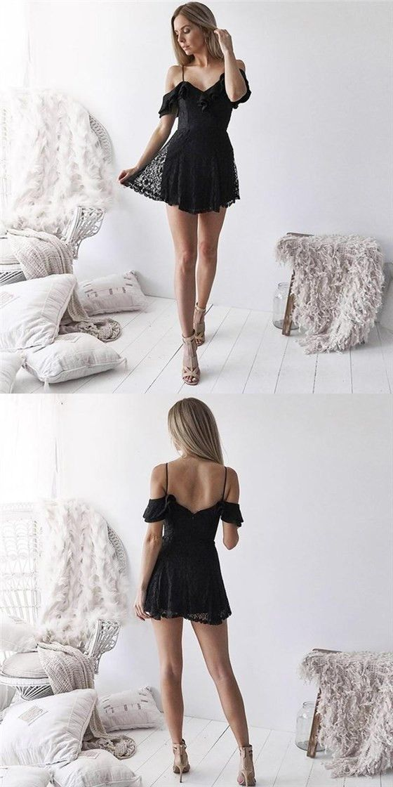 735609e1ce6 New Arrival Spaghetti Straps Black Lace Short Homecoming Dresses Online