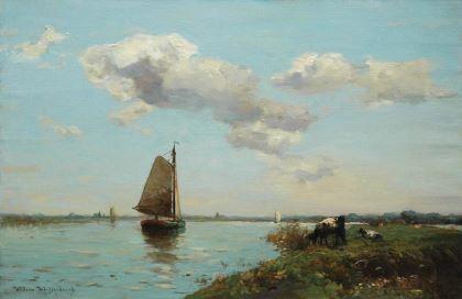 'Willem' Johannes Weissenbruch (Den Haag 1864-1941 Bloemendaal) Zeilboten op een rivier - Kunsthandel Simonis en Buunk, Ede (Nederland).