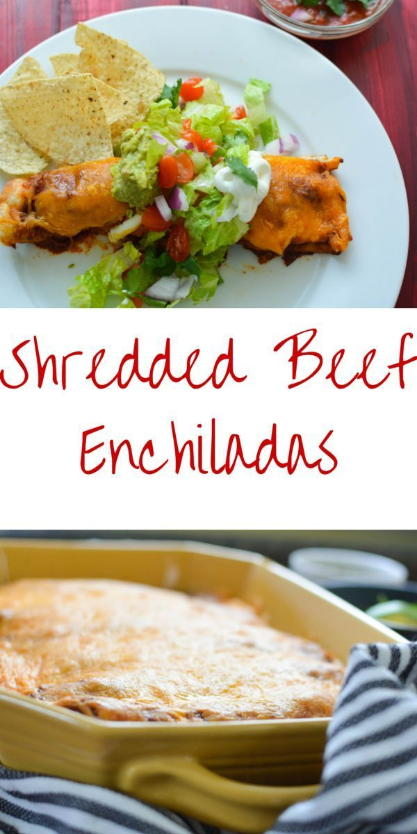 This shredded beef enchilada recipe is much easier than you might think to make as weeknight meal. Making the shredded beef in the crockpot saves time and creates an incredible rich and spicy flavor. Shredded beef enchiladas are a cheesy and delicious fam