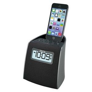 iHome Docking Clock Radio with Lightning Dock for iPhone/iPod - Gunmetal (iPL22G)