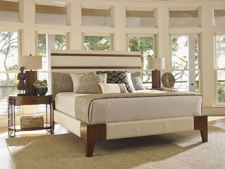 Tommy Bahama By Lexington Home Brands Island Fusion Mandarin Upholstered  Panel Bed, Size: California King
