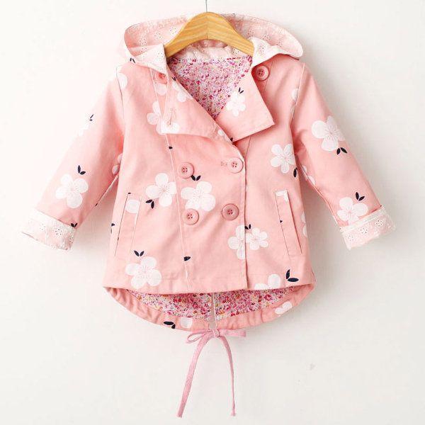 c20f319ae Floral Print Girls Coat Spring Autumn Hooded Girls Windbreaker Baby Girls  Jacket Kids Trench Coat On