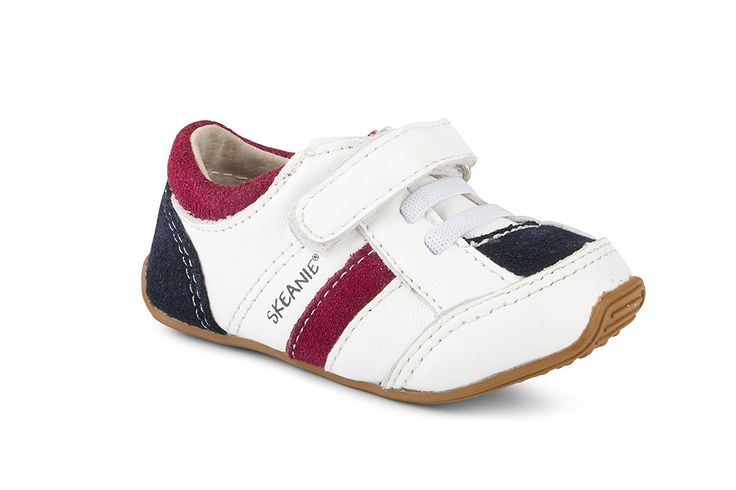 SKEANIE Trainers White/Navy/Red Sneakers For Kids and Toddlers