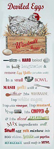 Deviled Eggs Recipe Flour Sack Kitchen Towel Mary Lake-Th...