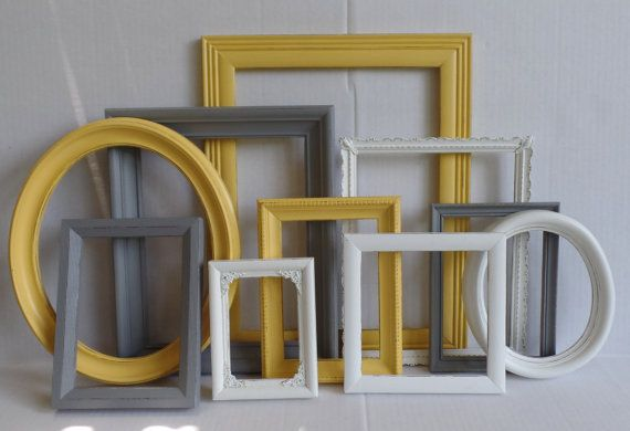Custom Picture Frames  Gray Grey White & Yellow by MollyMcShabby
