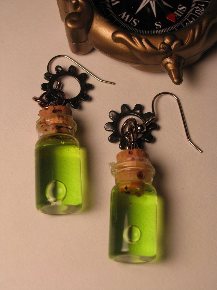 Steampunk Absinthe Vial Earrings by weirdplush on Etsy, $7.99