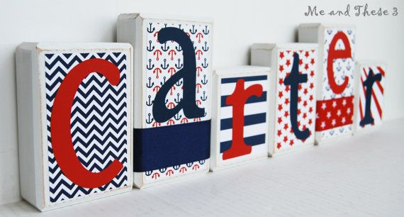 Wood letter name blocks customized with your style and colors-Red white and navy blue anchor sailboat navy star chevron stripe boy girl on Etsy, $8.00