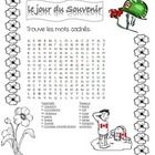 Practice French Remembrance Day vocabulary with this word search and colouring page.  This page is also available in full colour in my store. (Clas...