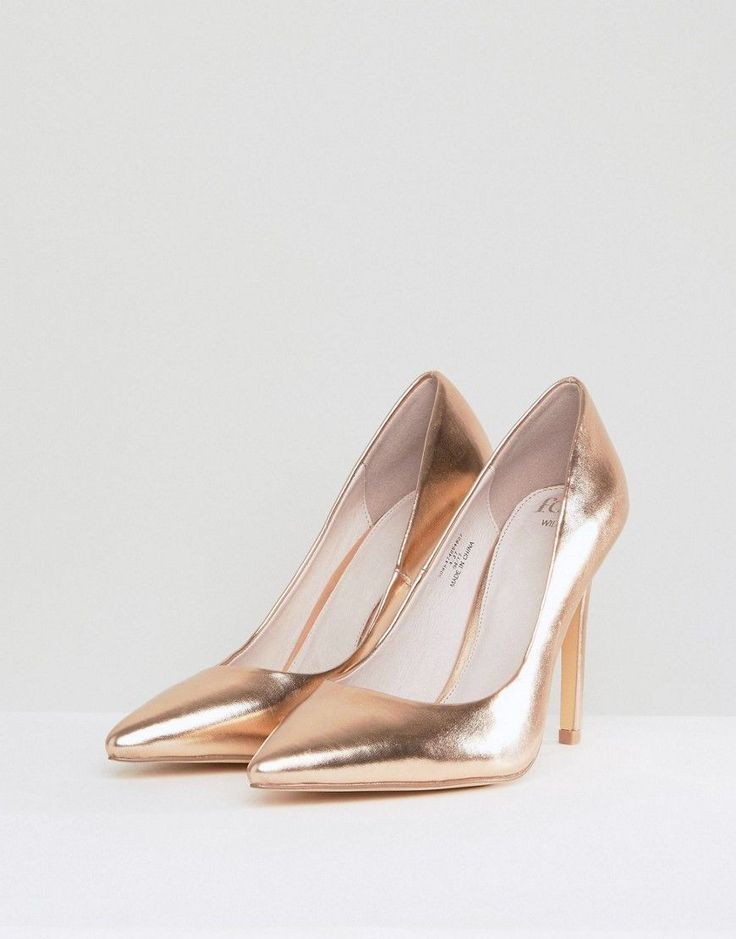Faith Wide Fit Chloe Rose Gold Pumps - Gold