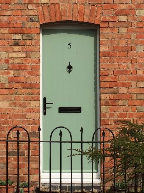 Cottage Solid Composite Front Door In Chartwell Green With Black Hardware English Country