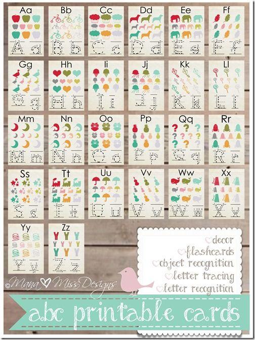FREE PRINTABLE - Alphabet Cards - Custom Designed Free Printables http://www.mamamiss.com ©2013