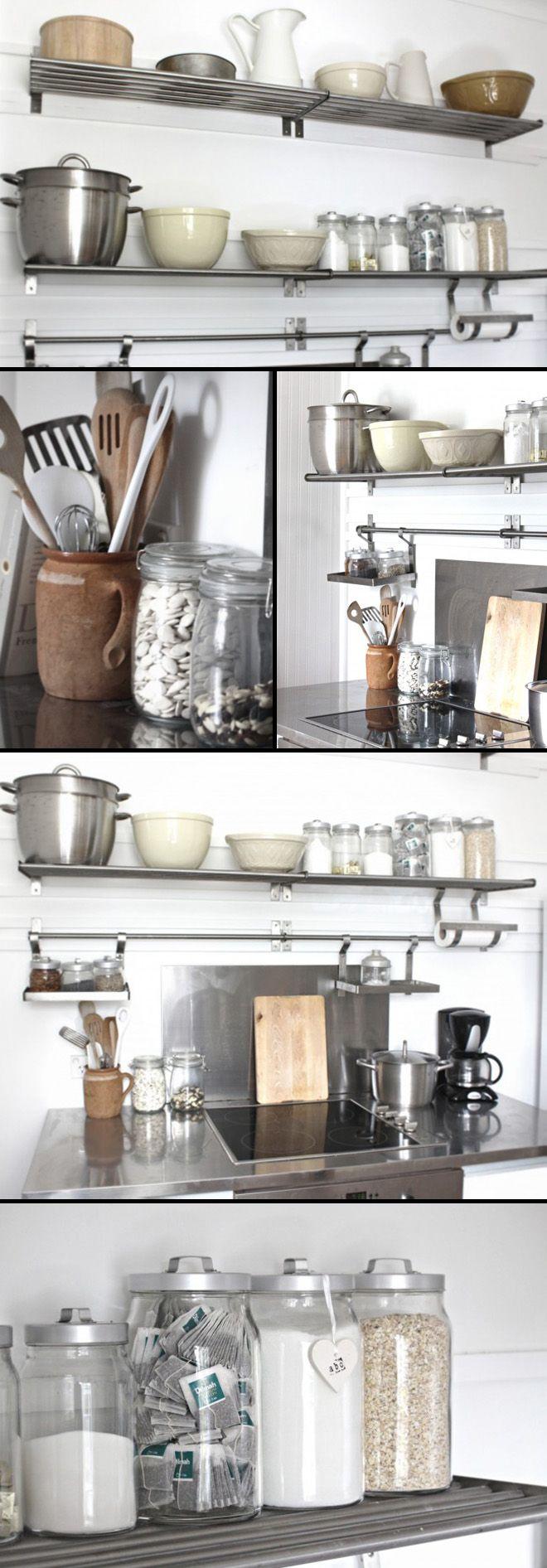 Ikea kitchen shelves stainless steel - Beach Cottage Kitchen Organization Part I
