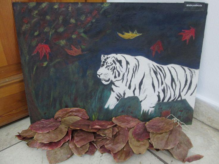 Mermer tozu-Yağlı boya-Yağlı iç cephe boyası-Hurma ağacı yaprağı- KAPLAN...Marble powder-Oil paint-Oil interior wall paint-Palm tree leaf-TIGER...for sale- BURSA