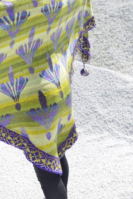 "The Damask lily shawl light green/purple. Kits for my book FANØSTRIK - Colours of Fanø - You find the knittingpattern in my Knittingbook ""Fanøstrik - Colours of Fanø"""