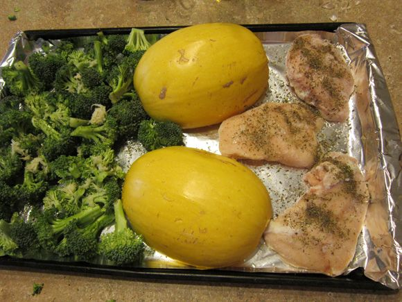 I had my doubts about this recipe because it was so EASY, but my husband and son both LOVED it! Roasted spaghetti squash, broccoli and chicken