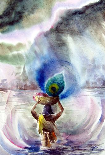 Indian Artist- Jitendra Sule's Watercolour Paintings: Sri Krishna Janma: