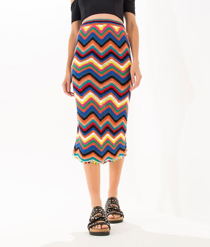 saia crochet chevron                                                                                                                                                                                 Mais
