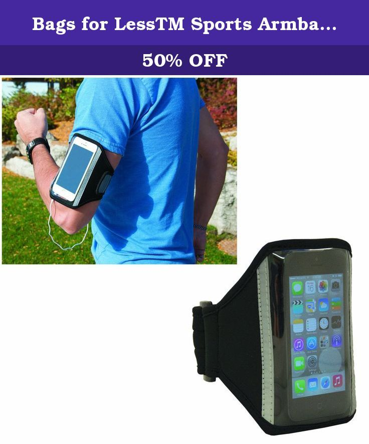 """Bags for LessTM Sports Armband Black. 6"""" W x 5.75"""" H. 3mm lightweight Neoprene. Clear PVC pocket to hold phone. Use your device without having to remove from case. Hidden pocket on back for key storage or other small items. Adjustable Velcro closure to secure around your arm. Helps protect your device from scratches and bumps. Opening for audio jack at the bottom. Plastic hardware. Fits most standard sized Smartphones. Listen to your music hands-free while exercising outdoors or at the…"""