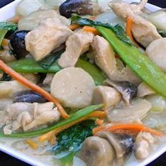 Moo Goo Gai Pan - This recipe is on allrecipes.com. I used snow peas and a red onion from my CSA box to make it. It's very good!