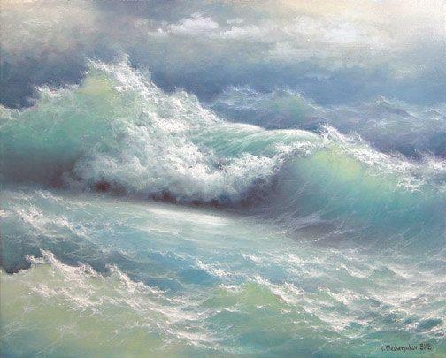 Stormy waves 16 x 20 original oil on canvas by vladimirmesheryakov, $399.95