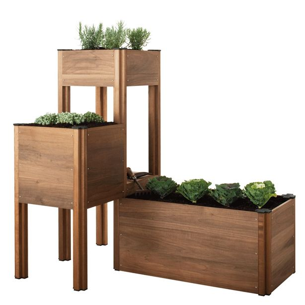 Modular planters. These are pre-made planters you can buy, but think about using a similar design pattern to fit as many plants as possible into your space.
