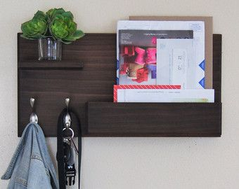 Coat Rack Wall Mounted with Mail Storage and Floating Shelf Entryway Organizer Key Hooks