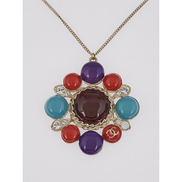 Pre-owned Chanel Multicolor Enamel and Crystal CC Pendant Necklace ($495) ❤ liked on Polyvore featuring jewelry, necklaces, multi color necklace, purple necklace, chanel pendant, colorful necklaces and pendant necklaces