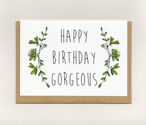 happy birthday gorgeous . card . rustic floral by ThePaisleyFive