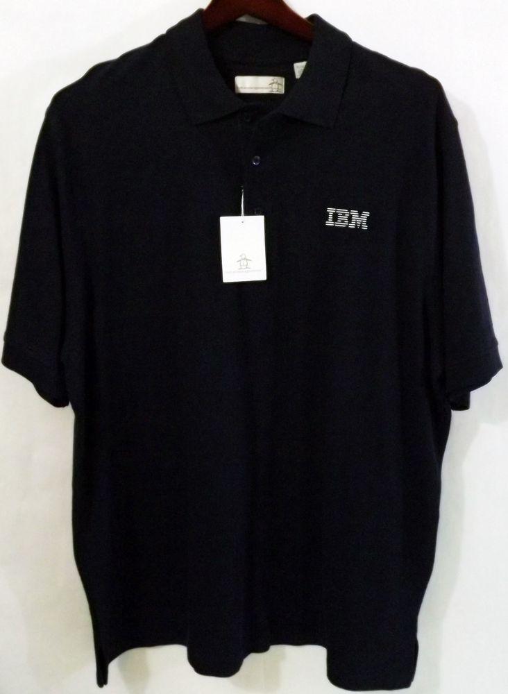 89fa2ed2b NWT Men's Munsingwear XL Dark Blue IBM Logo SS 100% Cotton Polo Golf ...