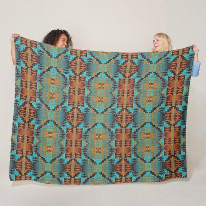 Ethnic Native American Indian Tribal Pattern Art Fleece Blanket - trendy gifts cool gift ideas customize