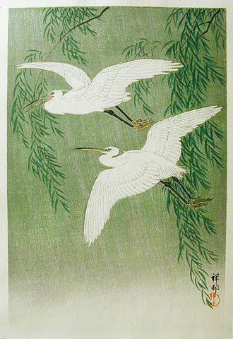 Ohara Koson / White Herons and Willow