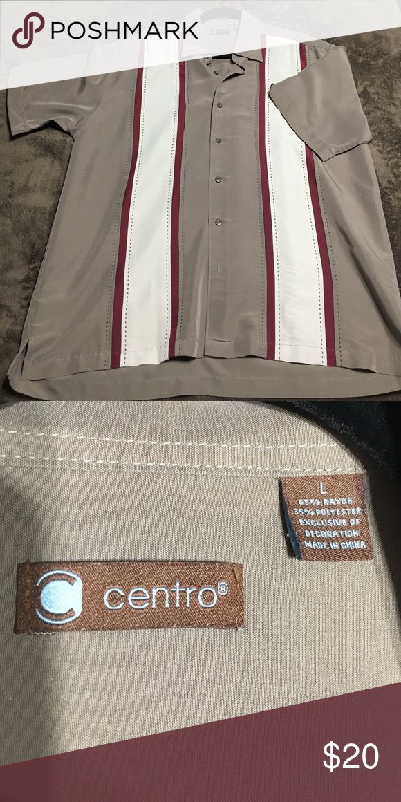 """Men's Charlie Sheen Cuban Button Down Shirt Sand/cream/burgundy color in brand new condition no rips or stains, collar button down, approx 23""""w x 28""""h centro Shirts Casual Button Down Shirts"""