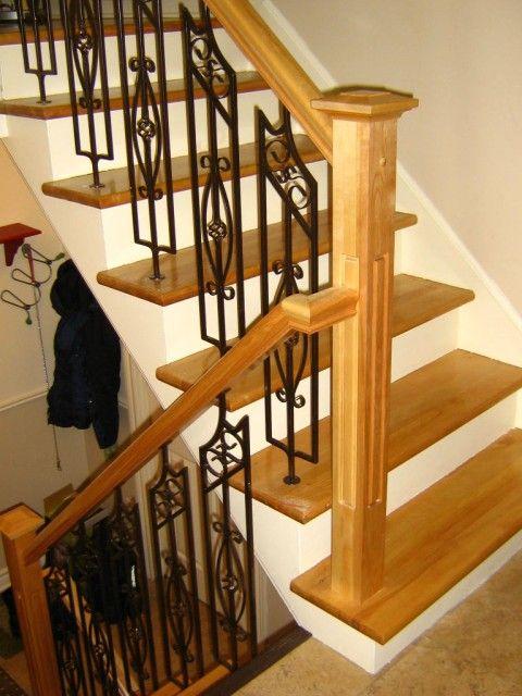 En Bois Barreaux Fer Forg Instal Escalier Rampe Escalier
