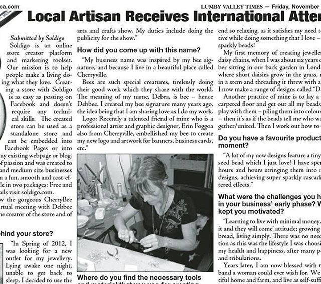 Congrats again @cherrybee_boutique and we are very happy to see our interview published in print across the globe! Read it here: http://www.lumbyvalleytimes.ca/issues/Lumby%20Valley%20Times_1118.pdf #soldigosuccessstories #cherrybeeboutique #sellonlinewithsoldigo #turnyourhobbyintoacareer #makealivingdoingwhatyoulove