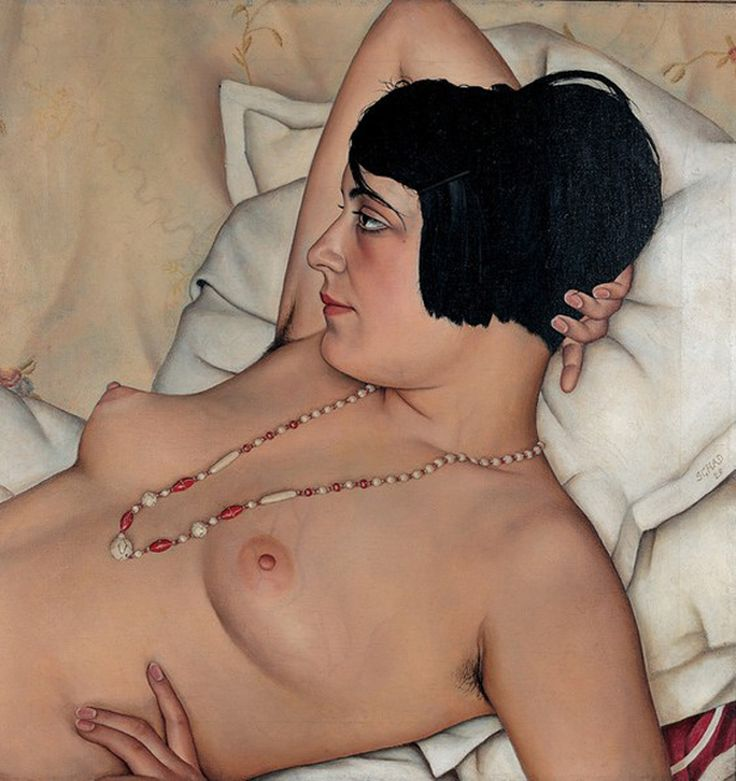 Halbakt, 1929 . Christian Schad (1894-1982) was another leading figure of the Neue Sachlichkeit group. His sharp-focused, mysteriously erotic portraits epitomize the decadent glamour of the Weimar era. Considered as a group, Schad's portraits form an extraordinary record of life in Vienna and Berlin in the years following World War I. Yet even when his paintings are apparently at their most objective, there is nevertheless a complex theater of illusion at play.