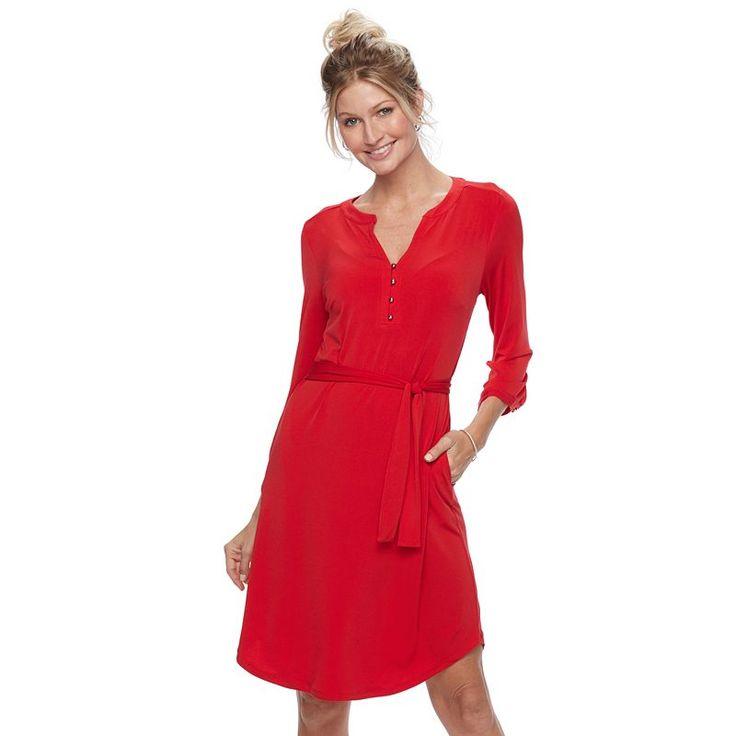 Women's Dana Buchman Shirtdress, Med Red