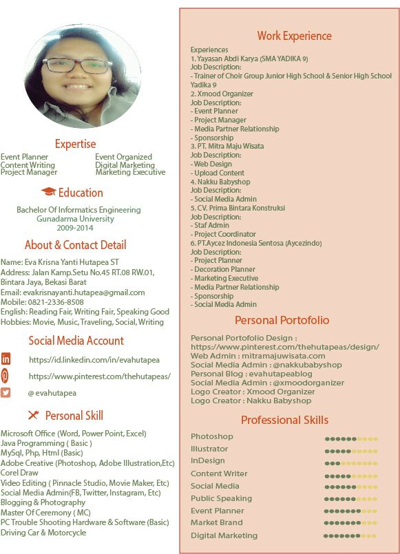 CV Eva Hutapea Digital Marketing Event Planner