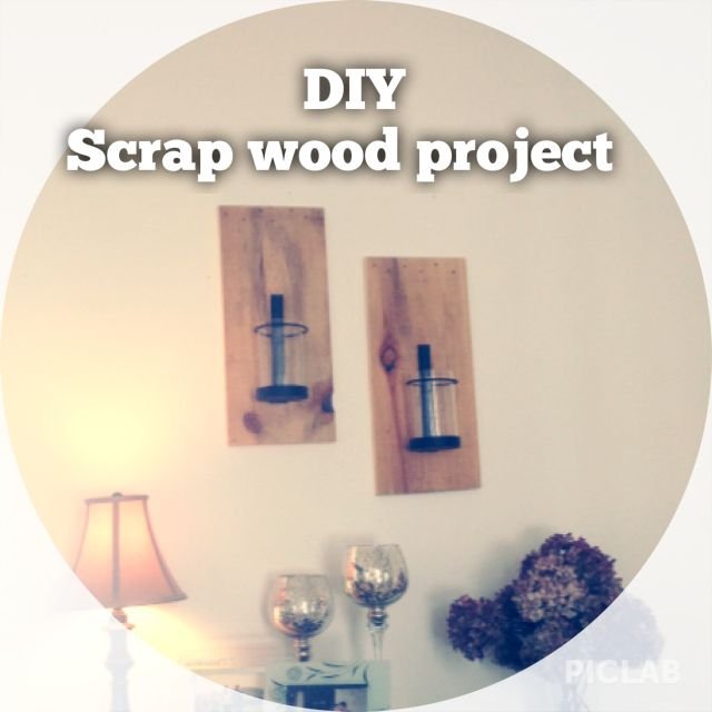 Diy Scrap wood candle holder, instead of putting straight on wall I mounted them on old scrap flooring cut offs we had