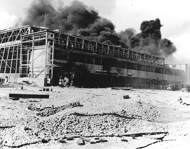 Hangar 2 at Naval Air Station Kaneohe burning, US Territory of Hawaii, 7 Dec 1941 (US Navy Naval History and Heritage Command)