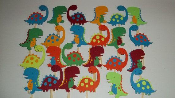 24 Dinosaur Cupcake Toppers Dinosaur Birthday Theme