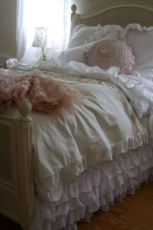 Pretty Cottage Bedroom with Ruffle Bed Linen